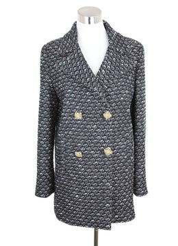 Chanel Black Grey Coral Tweed Gripoix Buttons Jacket 1