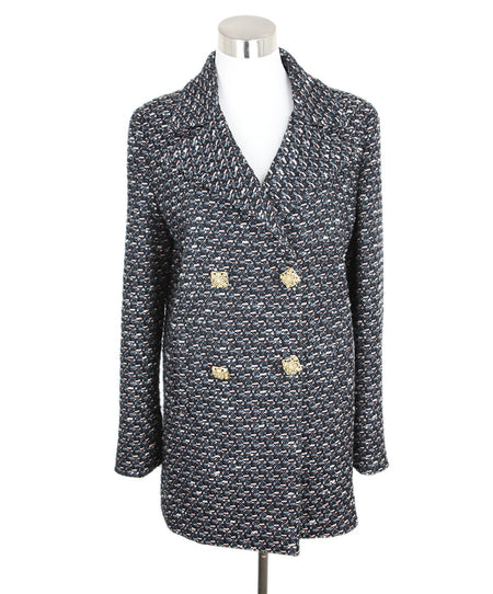 Roberto Cavalli Turquoise Brown Tweed Wool Coat Sz 6