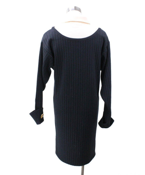 Chanel Black Ivory Wool Dress 2