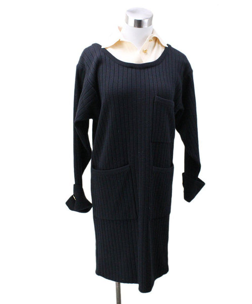 Chanel Black Ivory Wool Dress