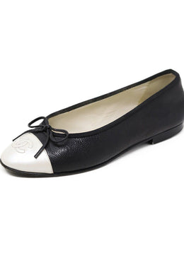 Chanel Black Ivory Pebbled Leather Flats
