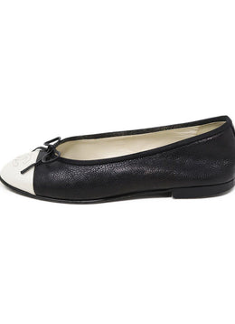 Chanel Black Ivory Pebbled Leather Flats 1
