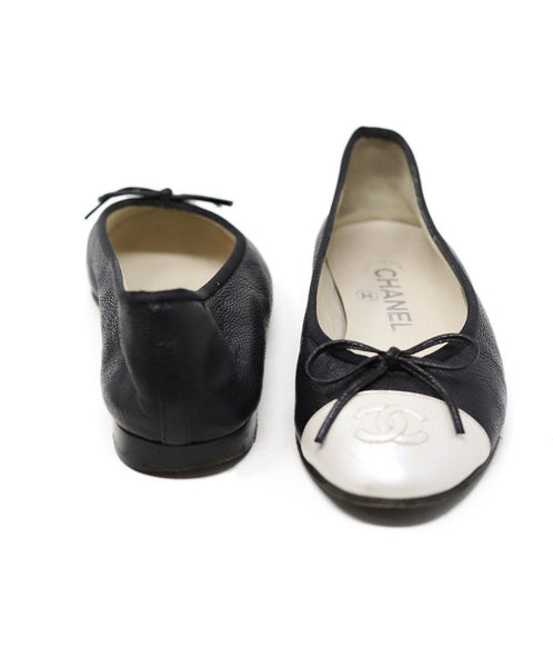Chanel Black Ivory Pebbled Leather Flats 3