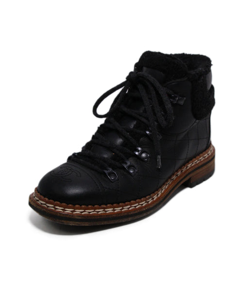 Chanel Black Lace Up Booties 1
