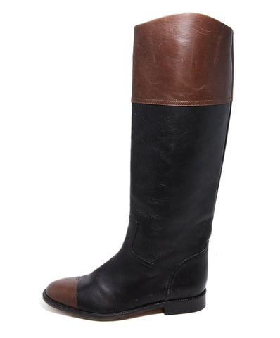 Chanel Black Leather Brown Trim Boots 1