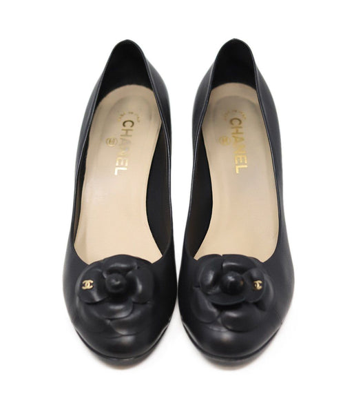 "Chanel Leather Camellia ""as is"" Black Shoes"
