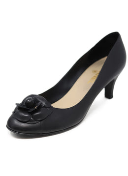"Chanel Leather Camellia ""as is"" Black Shoes 1"