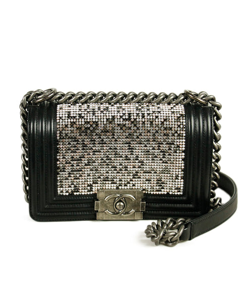 Chanel Boy Bag Black Leather Swarovski Crystal Handbag