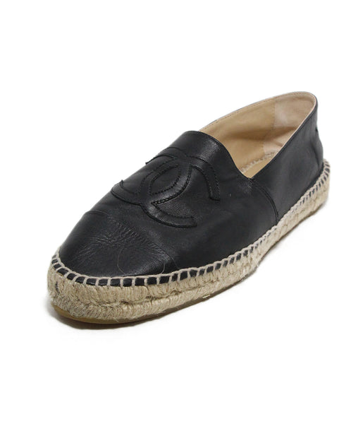 Chanel Black Leather Espadrilles Flats 1
