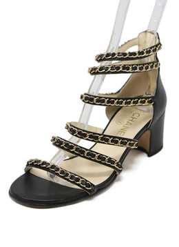 Chanel Black Leather Gold Chain Sandals 1