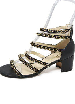 Chanel Black Leather Gold Chain Sandals 2