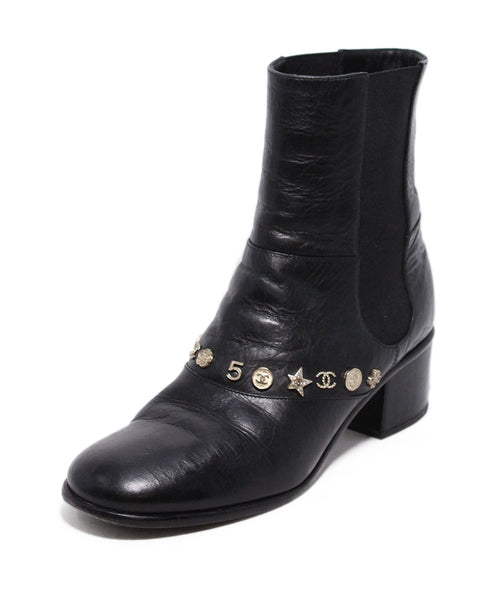 Chanel Black Leather Gold Charms Booties 1