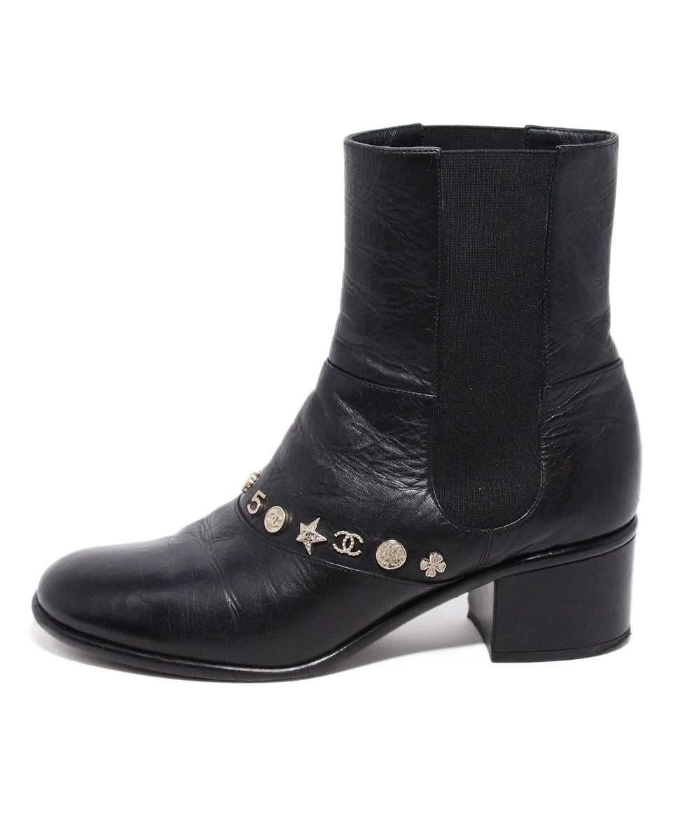 Chanel Black Leather Gold Charms Booties 2