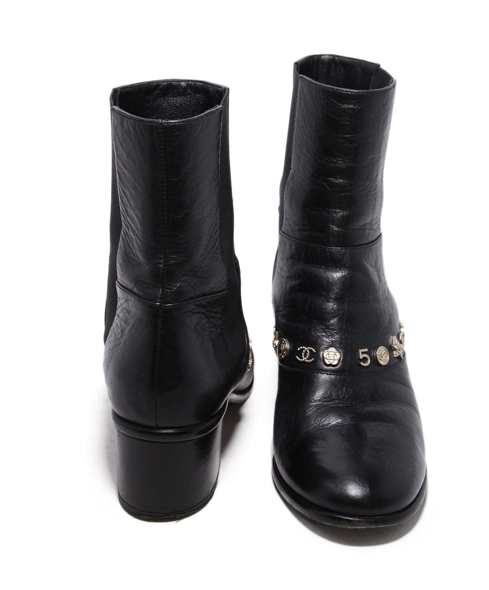 Chanel Black Leather Gold Charms Booties 3