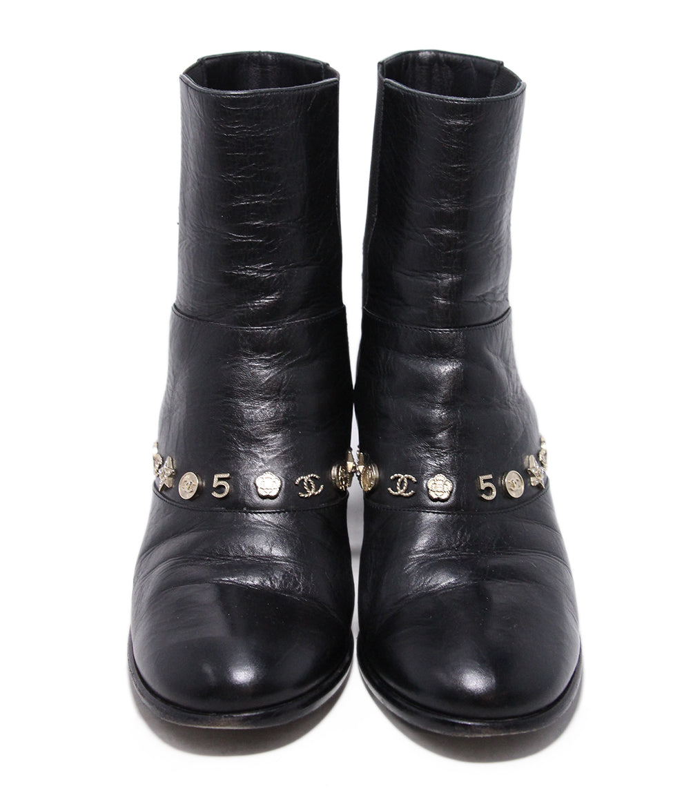 Chanel Black Leather Gold Charms Booties 4