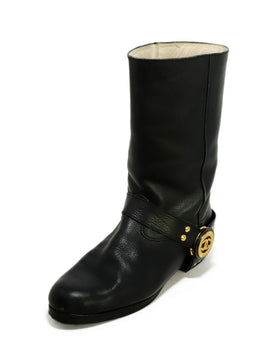 Chanel Black Leather Gold Hardware Western Boots 1