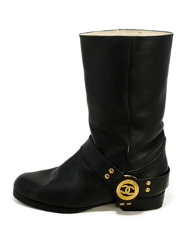 Chanel Black Leather Gold Hardware Western Boots 2