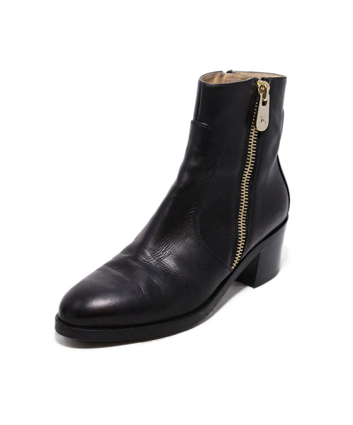 Chanel Black Leather Gold Zipper Trim Boots 1