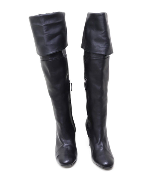 Chanel Black Leather Knee High Boots 2