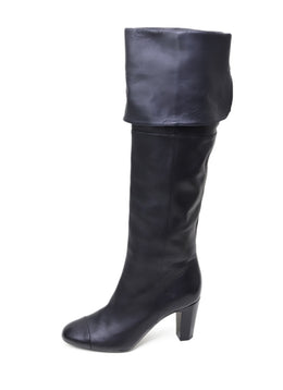 Chanel Black Leather Knee High Boots 1