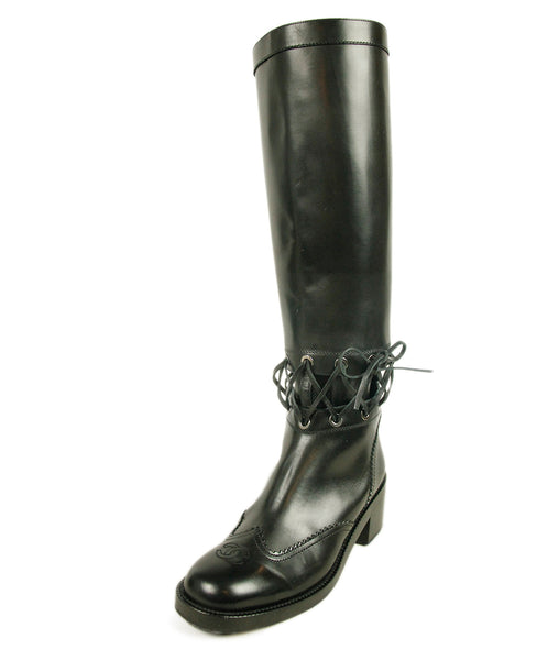 Chanel Black Leather Lace Boots 1