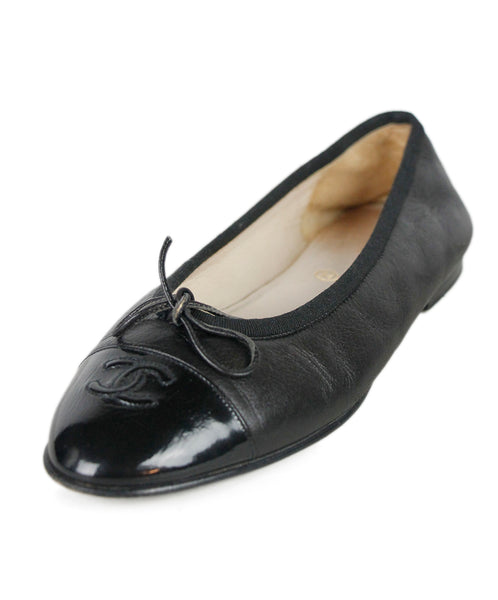 Chanel Black Leather Patent Trim Shoes