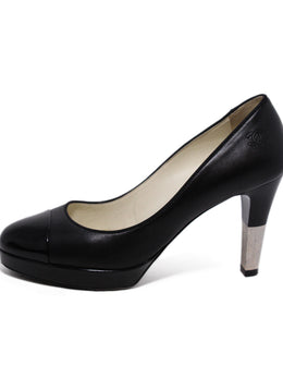 Chanel Black Leather Patent Trim Heels 2