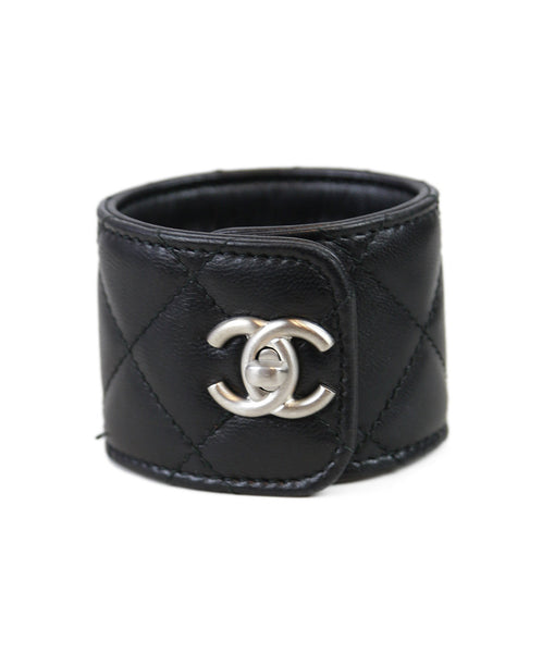 Chanel Black Quilted Leather Silver Trim Bracelet