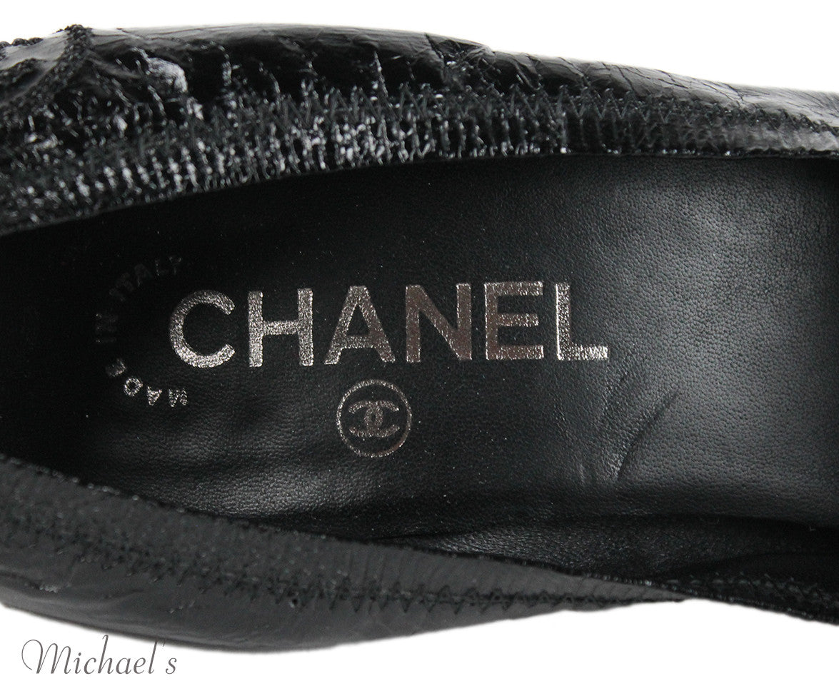 Chanel Black Leather Shoes Sz 11 - Michael's Consignment NYC  - 5