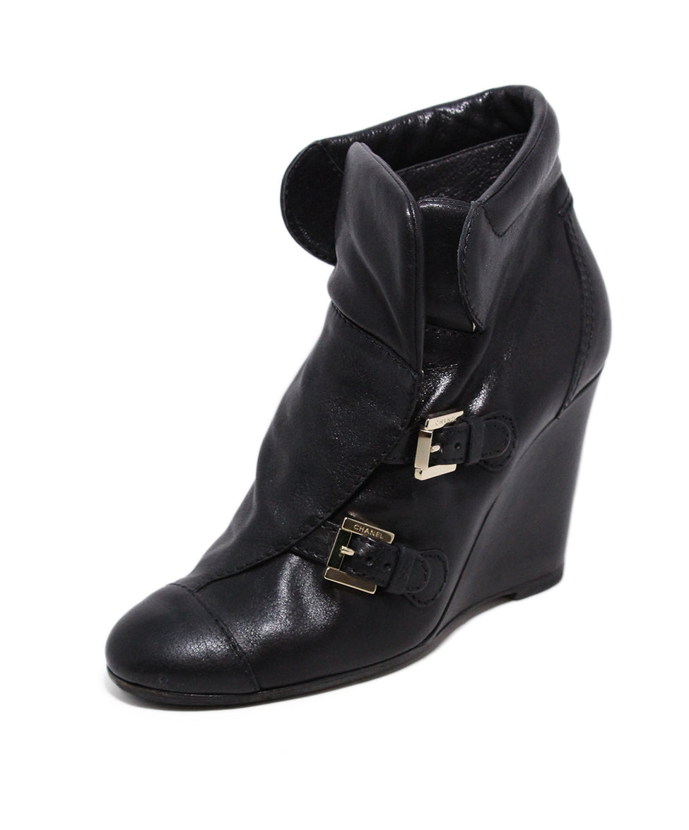 Chanel Black Leather Wedge Booties 1