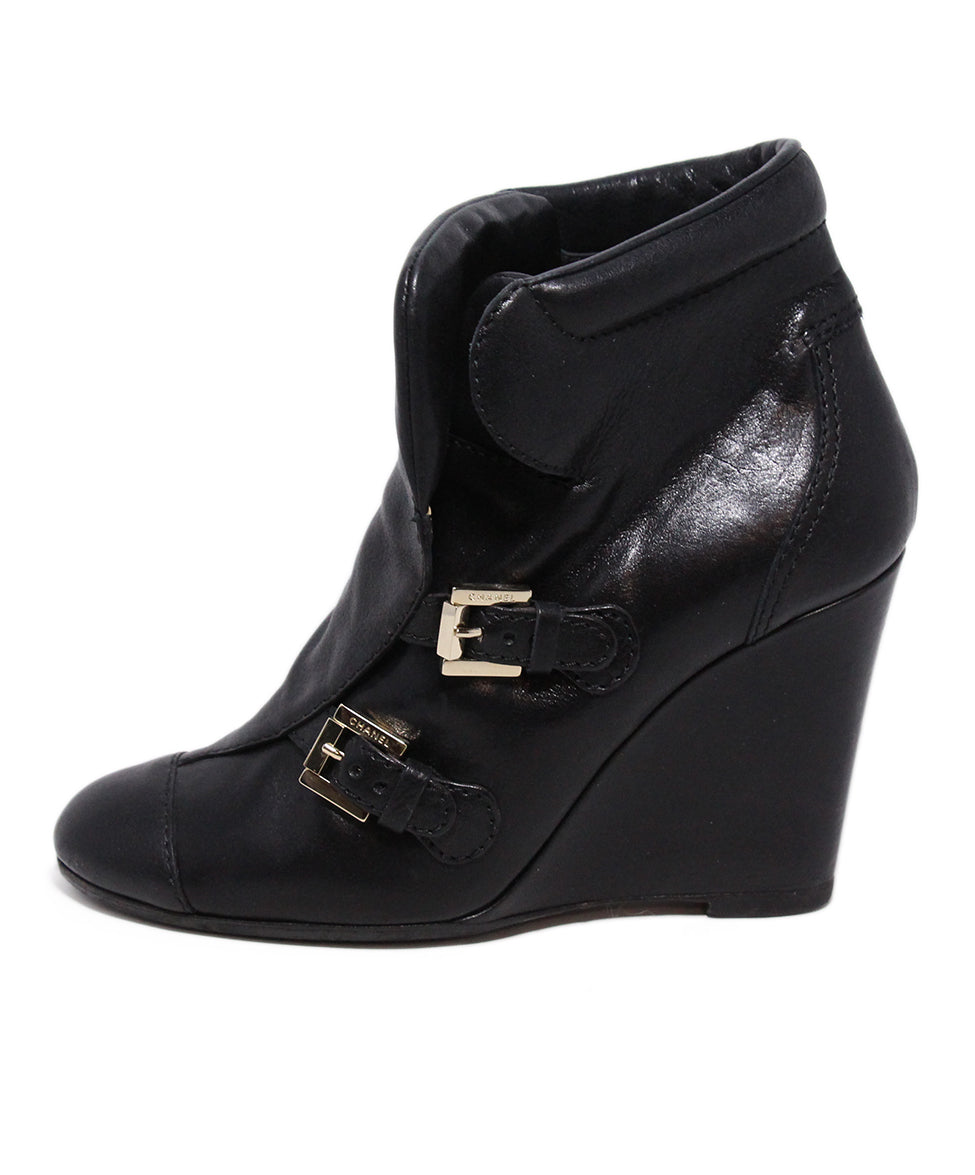Chanel Black Leather Wedge Booties 2