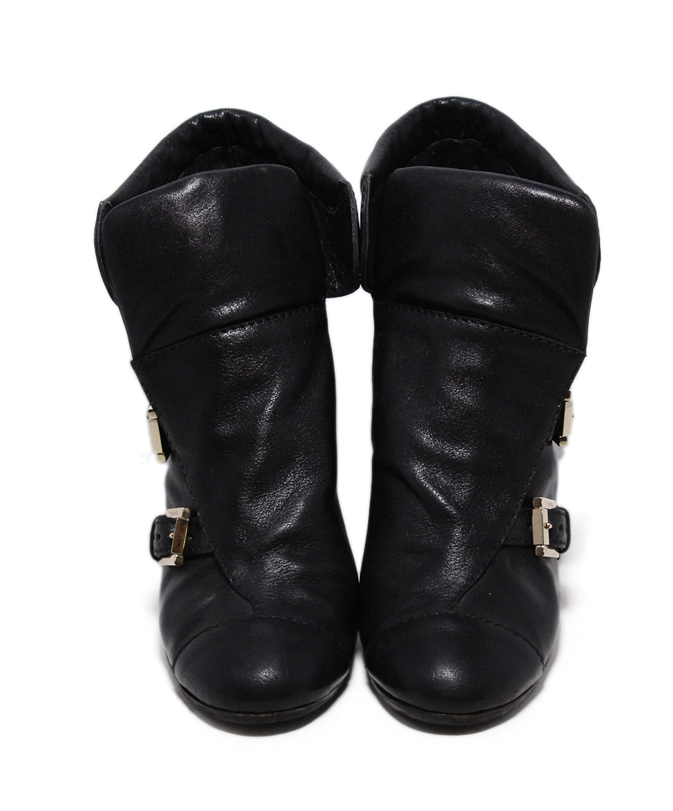 Chanel Black Leather Wedge Booties 4
