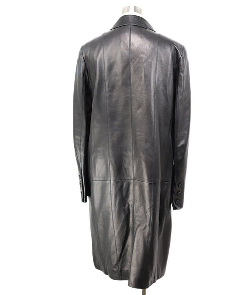 Trenchcoat Chanel Black Leather Wool Lurex Outerwear 3