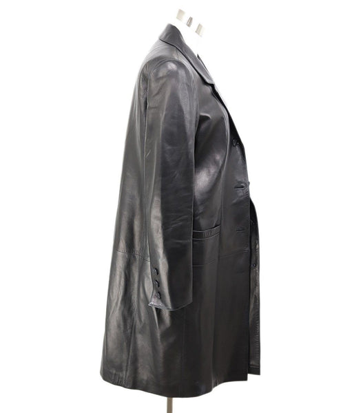 Trenchcoat Chanel Black Leather Wool Lurex Outerwear 2