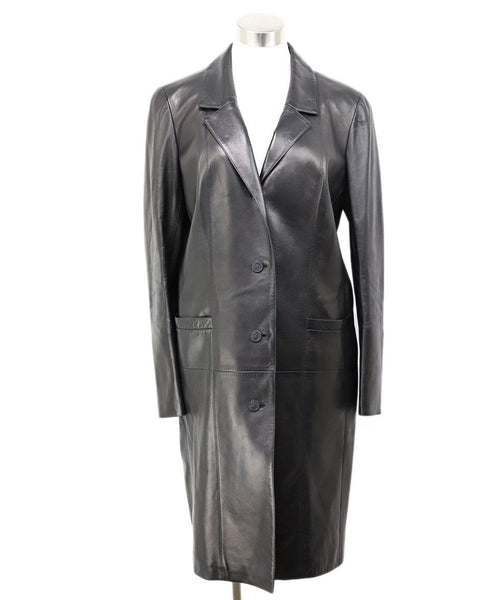 Trenchcoat Chanel Black Leather Wool Lurex Outerwear 1