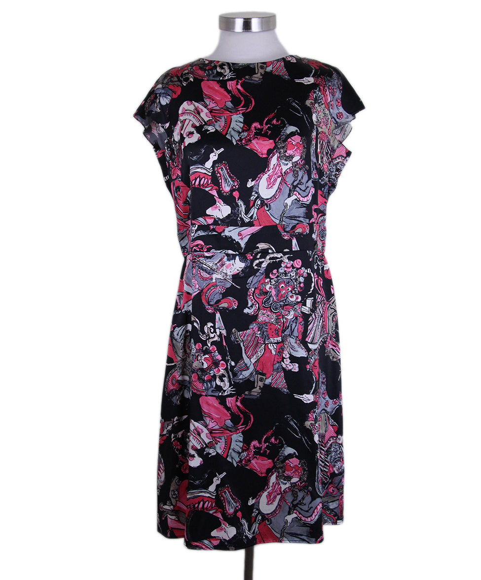 Chanel Black Magenta Print Silk Dress 1