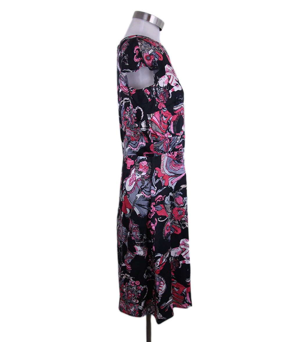 Chanel Black Magenta Print Silk Dress 2