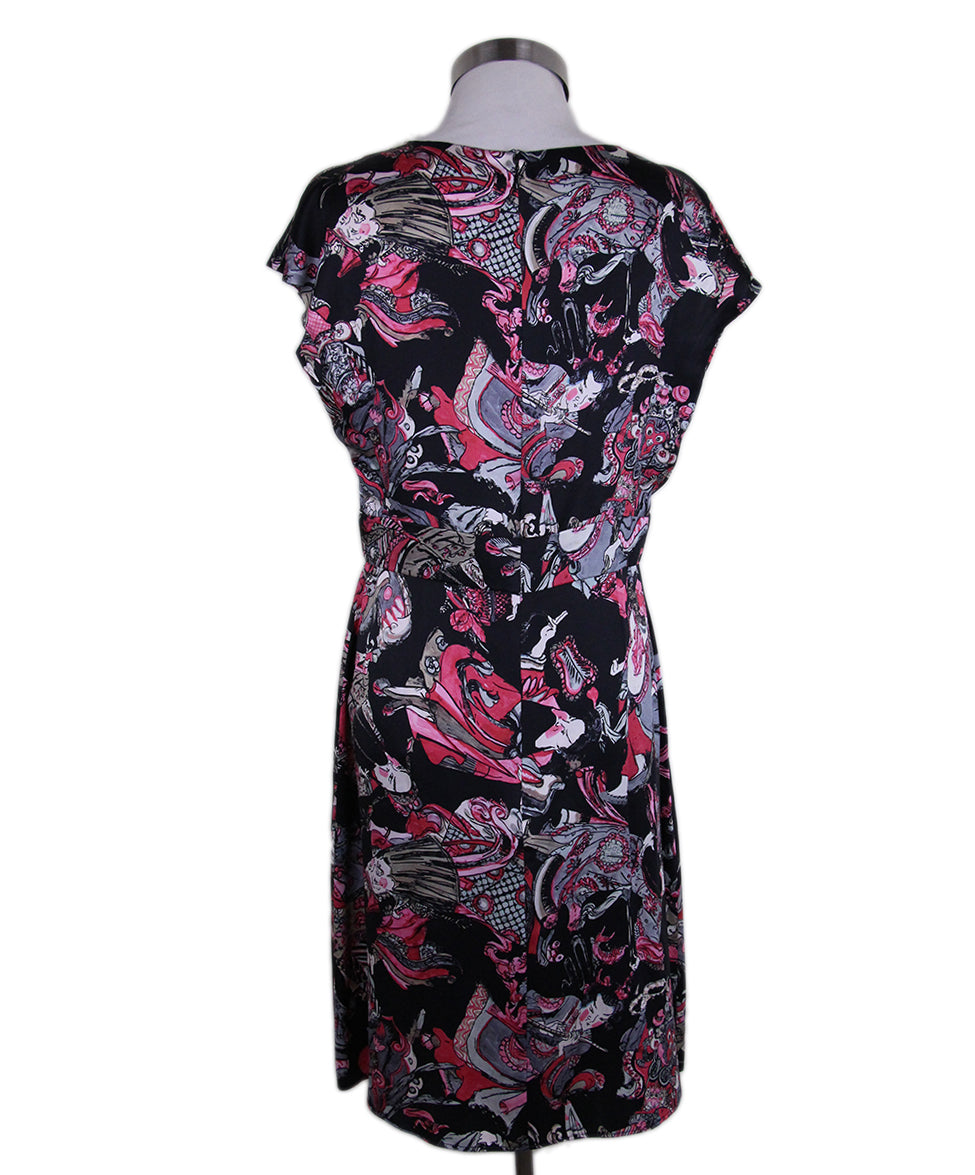 Chanel Black Magenta Print Silk Dress 3
