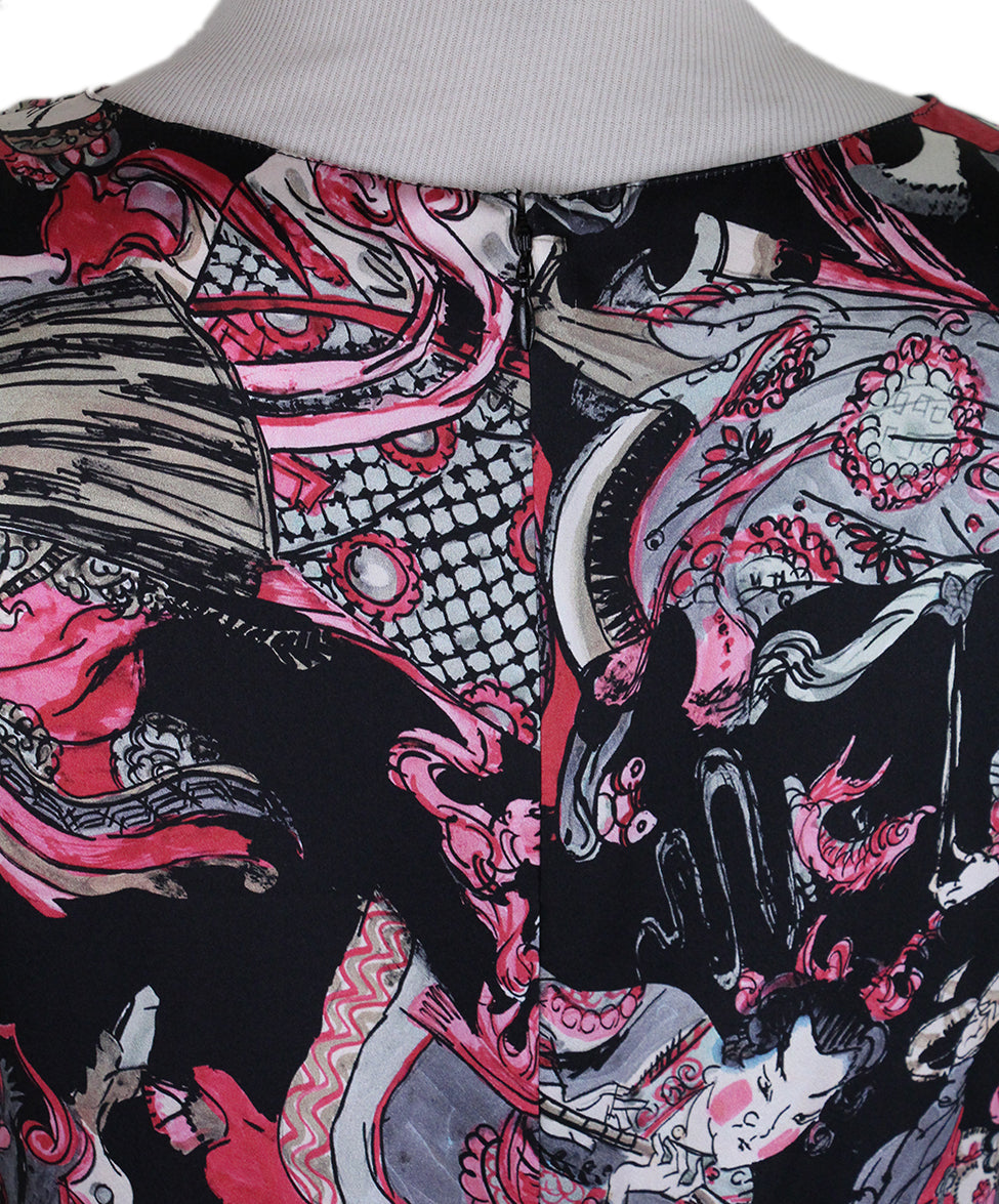 Chanel Black Magenta Print Silk Dress 5