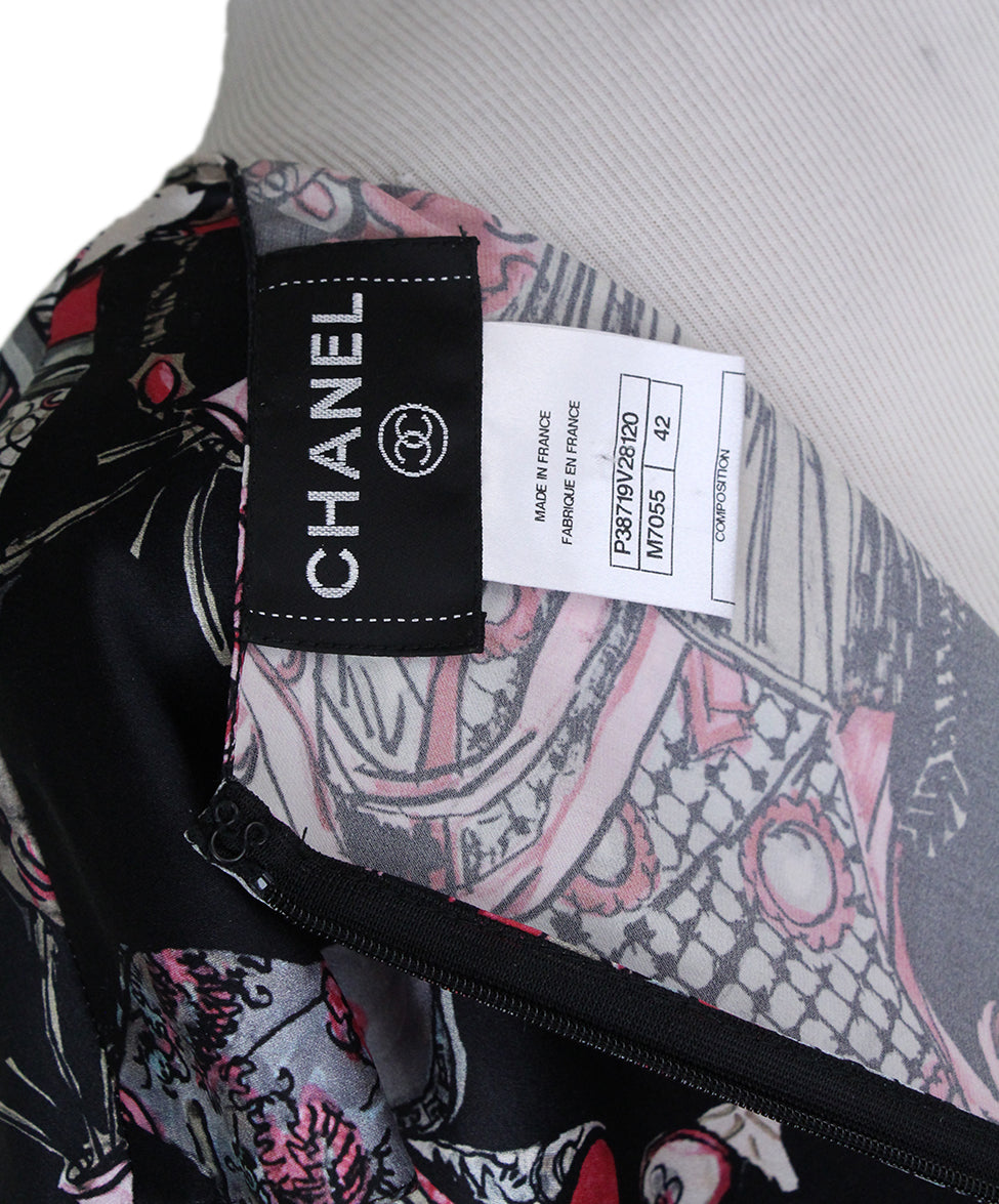 Chanel Black Magenta Print Silk Dress 4