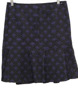 Chanel Black Navy Cotton Eyelet Skirt