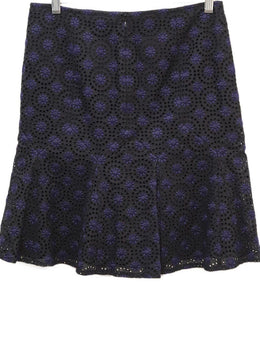 Chanel Black Navy Cotton Eyelet Skirt 1