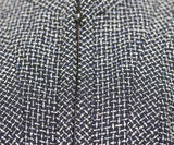 Chanel Black Navy White Wool Polyester Zipper Jacket Sz 6