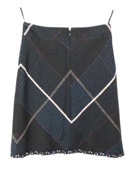 Chanel Black Navy White Pink Cotton Silk Skirt 2