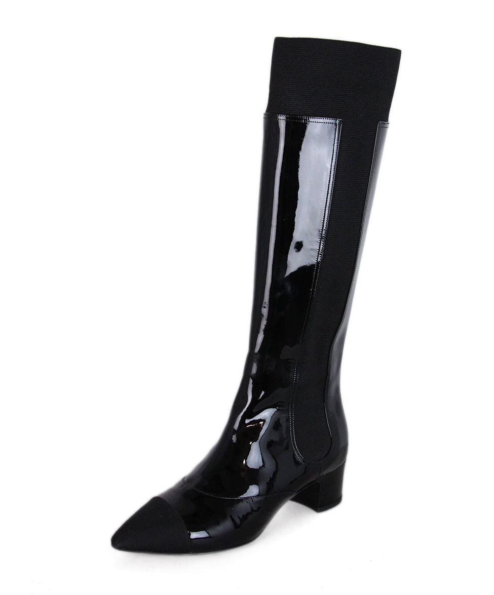 Chanel Black Patent Leather Elastic Tall Boots 1