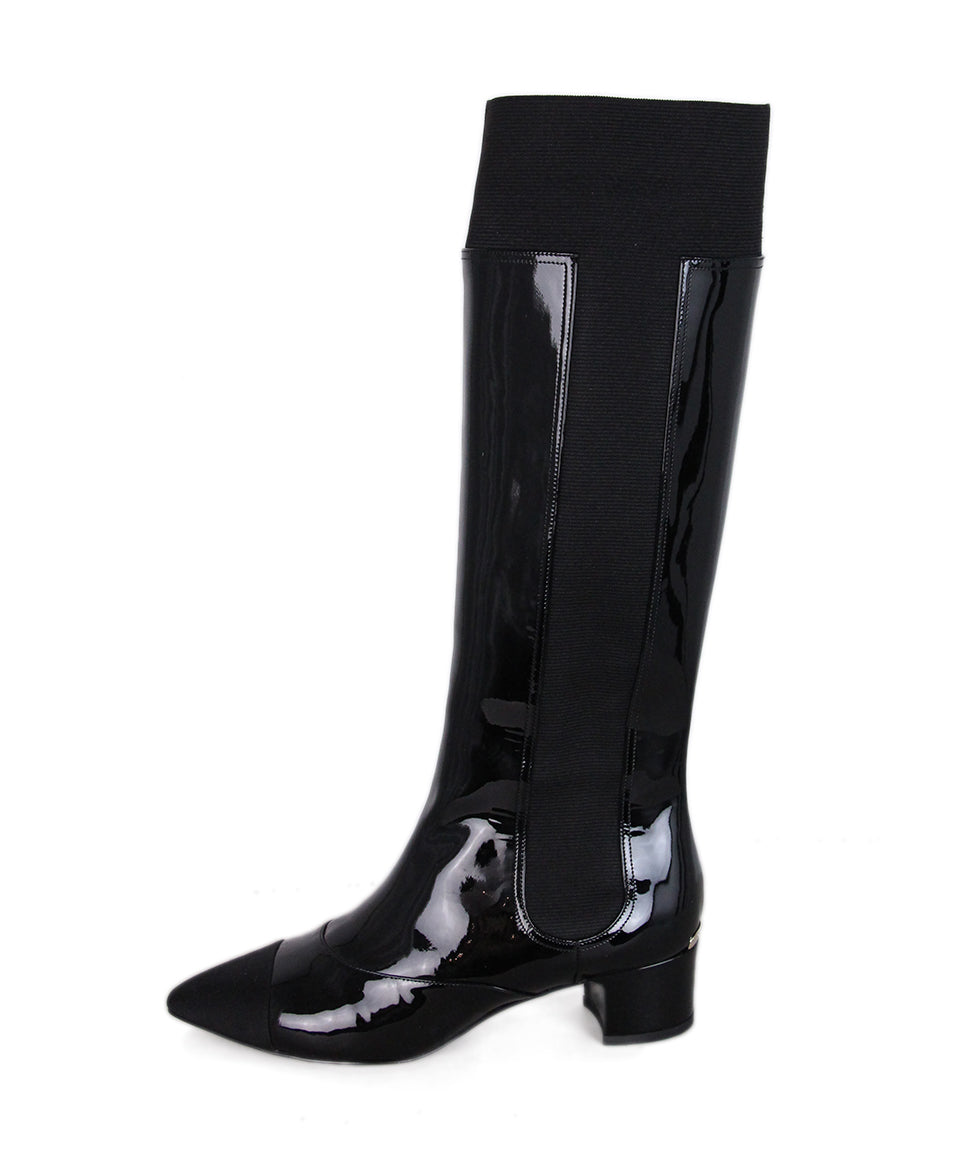 Chanel Black Patent Leather Elastic Tall Boots 2