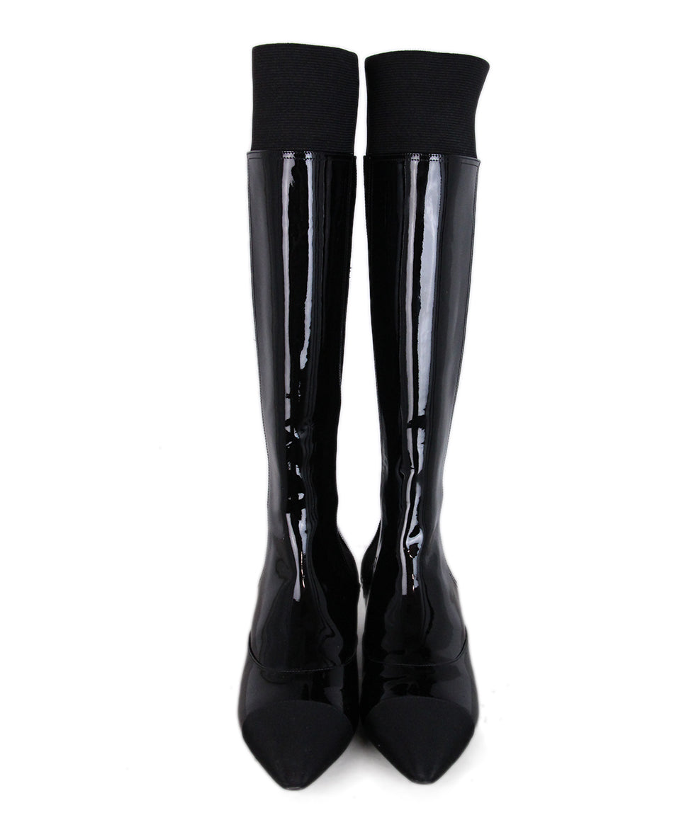 Chanel Black Patent Leather Elastic Tall Boots 4