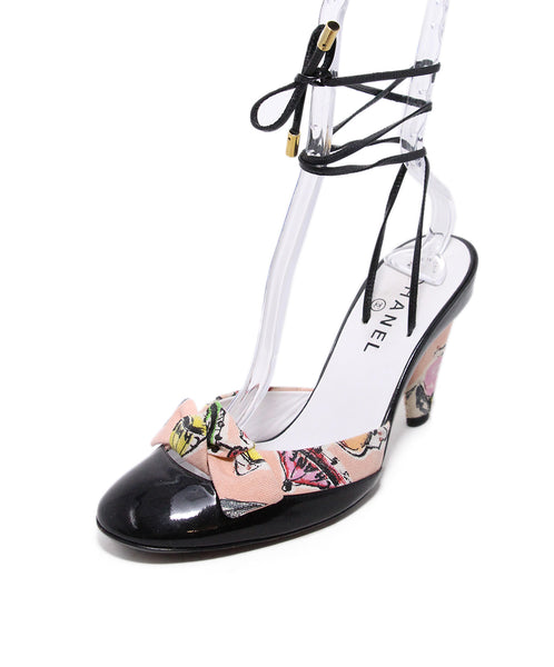Chanel Black Patent Leather Pink canvas Trim 1