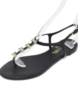 Chanel Black Patent Leather Sandals Sz 37