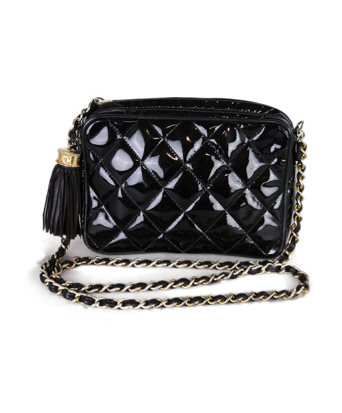 Chanel Black Patent Leather Vintage Crossbody 1